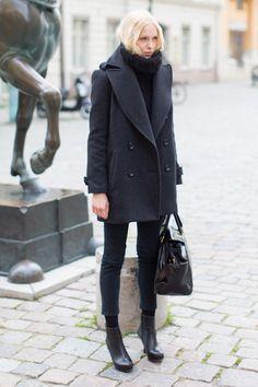 Emerson Fry Major Peacoat, Knit Wool Gillet, Coal Denims, Emerson Black Boots, Big Black Bag.