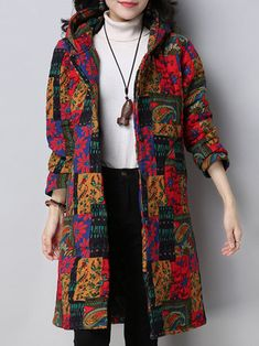 Vintage Women Printed Long Sleeve Thick Hooded Coats