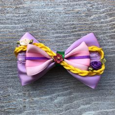 Let down your hair bow by Badtothebowco on Etsy Flower Headband Wedding, Flower Headbands, Fabric Flower Tutorial, Bow Tutorial, Fabric Hair Bows, Ribbon Hair, Diy Leather Bows, Disney Minnie Mouse Ears, Frozen Hair