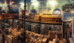 My favorite bookstore ever...Leakey's Second-Hand Bookshop, Inverness, Scotland: Situated in a refurbished Gaelic church, the store includes a bistro café and a roaring fireplace, so even if books aren't your favourite past time, the old-world charm and history of Leakey's is well worth the visit.