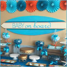Dessert table at a surfer baby shower party! See more party planning ideas at…