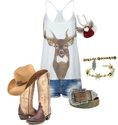 """Summer"" by camo-ammo-queen ❤ liked on Polyvore  Not a boots or cowgirl person but this makes me want to be one!"