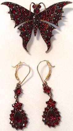 Antique Victorian Garnet Jewelry Set - Earrings & Brooch; circa 1900