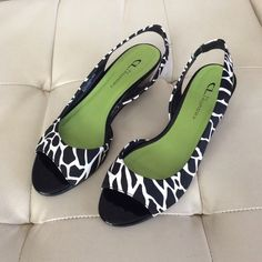 Zebra print kitten heel sandals  Zebra print kitten heels.  Great accessory shoe with fun print.  Near new condition. Shoes Sandals