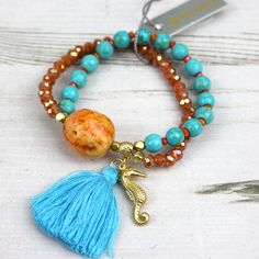 Pranella Turquoise & Orange Sea Horse Charm Beaded Bracelet Available At Pink Cadillac Boutique www.pinkcadillac.co.uk