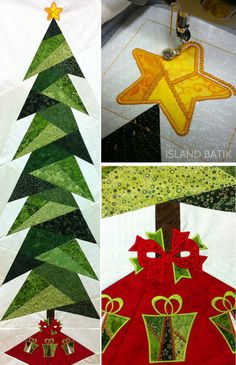 "rim the Tree by Cindi Edgerton This fun pattern can be made up and used as a wall hanging, a ""flat"" Christmas tree for small spaces, and (or) an Advent calendar! Here's a few photos of this pattern sewn and embroidered by Elizabeth, one of our team members! Find th"
