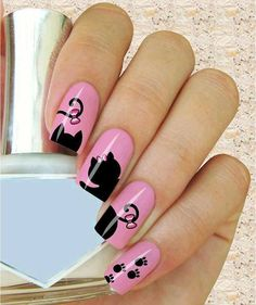 ideas de gatos para uñas Cat Nail Art, Cat Nails, Manicure, Nail Drawing, Halloween Nail Designs, Pink Cat, Summer Nails, 30, Nail Art Designs