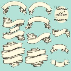 Vector vintage ribbon banners design 02