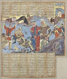 The dying Esfandiyar watched by Rostam and Zal Ferdowsi, Shahnameh Safavid: Qazvin, c.1585  Opaque watercolour, ink and gold on paper  Windsor, The Royal Collection, MS A/5. RCIN 1005013, fol. 194v  Lent by Her Majesty The Queen