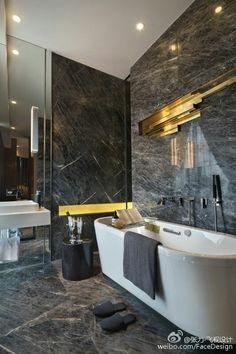 For more black and white bathroom Decorating Designing Ideas blackbathroom blackandwhitebathroom luxuryhomes, bathroom design ideas, luxury bathrooms, luxurybathrooms designinterior, luxury bath tubs 662662532655357730 Modern Luxury Bathroom, Luxury Master Bathrooms, Bathroom Design Luxury, Dream Bathrooms, Beautiful Bathrooms, Small Bathrooms, Hotel Bathrooms, Luxurious Bathrooms, Farmhouse Bathrooms