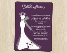 Bridal Shower Invitations Purple White by TheInviteLadyShop