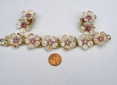 Signed Lisner Beautiful Lilac Flower Rhinestone Set Bracelet Earrings Vintage | eBay