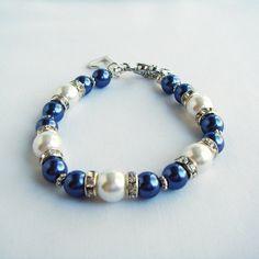 Bracelet Royal Blue or Navy White Czech Pearl Bracelet with Rhinestone Rondelles