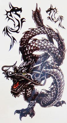 Large Henna Dragon Temporary Tattoo