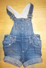 EUC Baby Girl H&M Jean Denim Heart Overalls size 4-6 Months SO CUTE!
