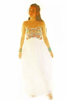 Handmade Mexican embroidered dresses and vintage treasures from Aida Coronado Mexico Wedding Dress Bohemian Embroidered A heart in every piece Bohemian Wedding Dresses, Long Wedding Dresses, Boho Dress, Mexican Embroidered Dress, Embroidered Dresses, Mexico Dress, Fiesta Dress, Mexican Dresses, Designer Dresses