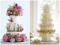 Romantic wedding cakes with purple flowers..love