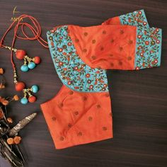 Bright vibrant and attractive the creeper design on this blouse is done exquisitely. Cutwork Blouse Designs, Pattu Saree Blouse Designs, Simple Blouse Designs, Stylish Blouse Design, Blouse Neck Designs, Blouse Patterns, Sari Blouse, Indian Embroidery, Hand Embroidery