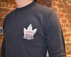 This light weight slub-fabric tee from 47 brand features the Toronto Maple Leafs red type-face logo from 1947-48. #mapleleafs