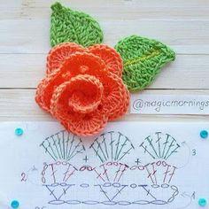 66 ideas crochet bag diagram charts ganchillo for 2019 Crochet Puff Flower, Crochet Leaves, Crochet Flower Patterns, Crochet Stitches Patterns, Crochet Flowers, Flower Applique, Crochet Diagram, Crochet Motif, Irish Crochet