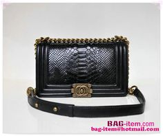 bd6f4213c4ca Boy Chanel Flap Shoulder Bag Snake Leather A67025 Black - Snake veins calf  Leather - Beautifully. Chanel Le BoyBrass HardwareCalf ...