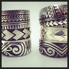 Silver Pacifica collection using spear designs , tattoo designs and , Maori koru designs . Custom made jewellery by seventysixdesign Polynesian Tribal Tattoos, Polynesian Art, Samoan Tattoo, Maori Tattoos, Maori Designs, Tattoo Designs, Polynesian Wedding, Hawaiian Heirloom Jewelry, Wedding Band Tattoo