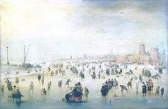 Skating Scene - Hendrick Avercamp - The Athenaeum  The Pushkin State Museum of Fine Arts  (Russian Federation - Moscow)      Dates:	circa 1620-1630 Artist age:	Approximately 45 years old. Dimensions:	Height: 24 cm (9.45 in.), Width: 38 cm (14.96 in.)