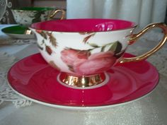 Satin Shelley Bone China Tea Cups by aspecialteaplace on Etsy, $31.00