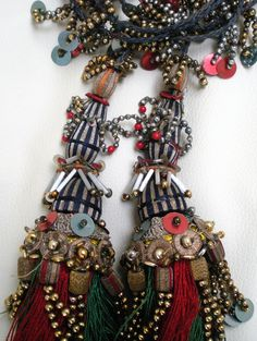 Antique Silk and Beaded Tassels from Romania