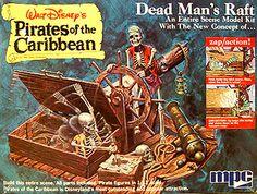 "Vintage Walt Disney's Pirates of the Caribbean ""Dead Man's Raft"" model kit."
