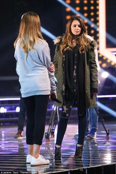 Wrapped up: The judge didn't bother to remove her trusty parka as she put contestant Lauren Platt through her paces ahead of her performance