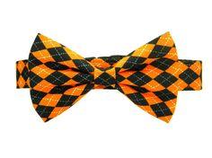 Halloween Bow Tie Dog Collar Black Orange Dog by PawshAccessories, $31.90
