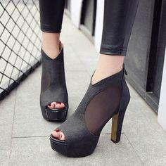 Shoespie Peep-toe Back Zipper Platform Heels
