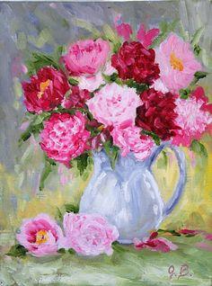 Print of Original  oil painting floral flowers by JBeaudetStudios
