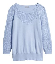 Perforated lace-effect panels add flair to this pastel blue fine-knit sweater. | H&M Pastels