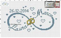 Schema per punto croce e crochet Infinito con nomi e data portafedi Lara e Marco