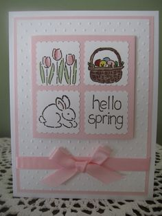 Handmade Greeting Card: Hello Spring (Spring/Easter Themed) on Etsy, $3.75
