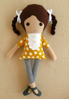 Fabric Doll Rag Doll Brown Haired Girl with Braids in Yellow Gold Dress and Striped Leggings