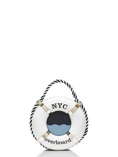 "why not go a little overboard? this witty open-topped bag, designed to look like an old-fashioned life preserver, offers a playful spin on nautical style; it'll ""save"" even the simplest ensemble from being too predictable."
