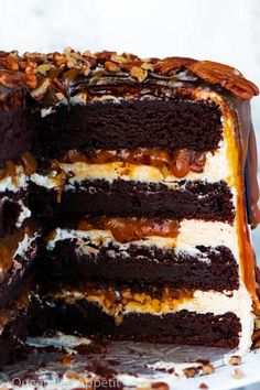This Turtle Chocolate Layer Cake starts with rich, decadent and moist chocolate cake layers that are filled with a caramel pecan sauce and covered in a smooth caramel frosting, then finished off with a caramel and ganache drip and chopped pecans! Just Desserts, Delicious Desserts, Dessert Recipes, Yummy Food, Chocolate Turtles, Chocolate Cake, Chocolate Deserts, Chocolate Belga, Layer Cake Recipes