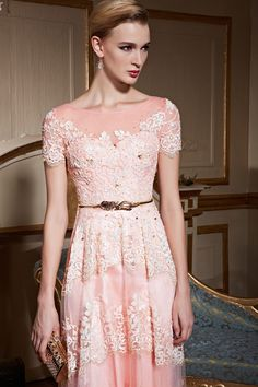 Ladies Elegant Pink Long Lace Evening Dress, #2016prom #designerpromdress #longgown #formaldress #wedding #bridalgown #beadeddress
