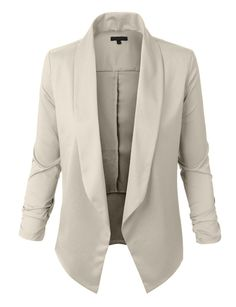 Womens Lightweight Open Front Draped Tuxedo Blazer Jacket
