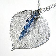 Echte Leaf  Silberfolie und Glas Eiszapfen Anhänger von kivaford