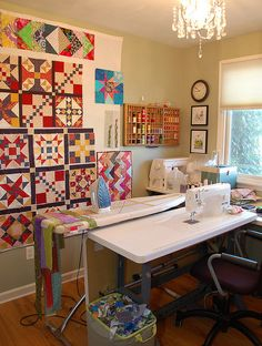 The sewing wall is a great touch! I have one in my sewing room & it is so nice to see your quilt come together this way. Sewing Room Design, Sewing Room Storage, Craft Room Design, Sewing Spaces, Sewing Room Organization, My Sewing Room, Craft Room Storage, Sewing Studio, Sewing Rooms