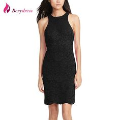 FuzWeb:Berydress Elegant Womens Sleeveless O-neck Tank Sheath Bodycon Slimming Knee-length Black Casual Lace Dresses Short on Sale