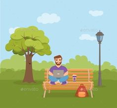 Buy Freelancer by Oligliya on GraphicRiver. Freelancer happy young men working on the bench in park with coffee. Vector illustration of guy sitting with computer. Vector Design, Flyer Design, Graphic Design, Young Man, Vector Graphics, Royalty Free Stock Photos, Happy, Men, Coffee Vector