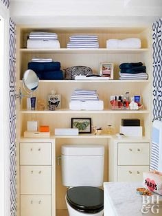 Trick your bathroom into storing more while upgrading its style with open shelves, baskets, and pretty containers.