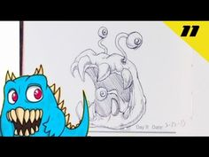 Daily Monster Sketch Journal - Day 11  #sketchmonster #easypicturestodraw   #coolstufftodraw   #howtodrawcoolthings    #funthingstodraw