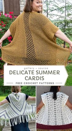 Delicate Summer Cardis With Free Crochet Patterns Improve your looks with new crochet designs that you can make all by yourself. These soft and airy summer cardis have simple boxy shapes and feature l bobble Delicate Summer Cardis Crochet Headband Pattern, Crochet Cardigan Pattern, Crochet Shirt, Crochet Jacket, Crochet Vests, Crochet Crafts, Crochet Yarn, Easy Crochet, Free Crochet