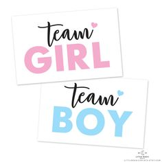 Gender Reveal Printable 'Team Boy Team Girl' by littlemagicprints
